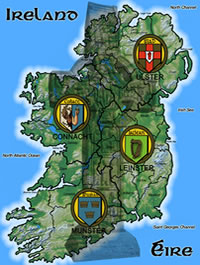 Map of Ireland with Provinces and Celtic Cross