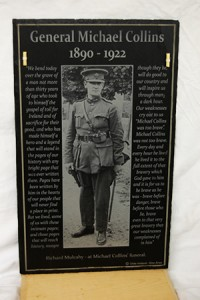 Tribute to Michael Collins by Richard Mulcahy - produced on slate with wooden stand