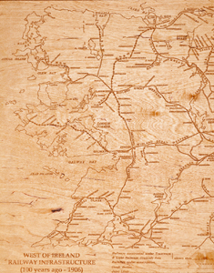 West of Ireland Railways 1906 map produced on wood