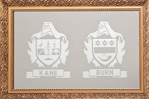 Irish Family Names - Kane and Burn - on a mirror - with wooden frame