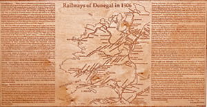 Railways of Donegal 1906 map produced on wood